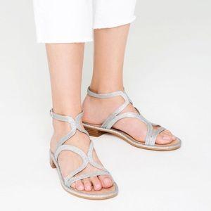 ZARA Shiny Silver Asymmetric Suede Wood Sandals